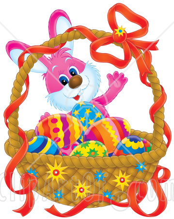 easter-bunny-standing-behind-a-basket-of-colorful-eggs