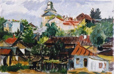 Iosif Iser - Peisaj cu case in Bucuresti