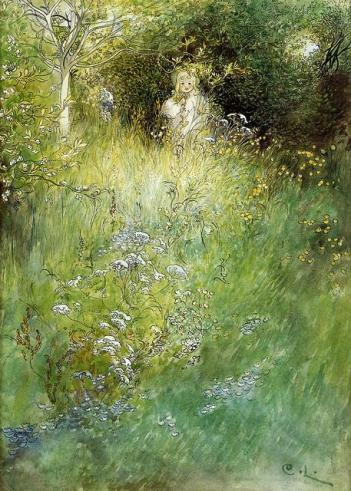 Carl Larsson - A Fairy_ Kersti and a View of a Meadow