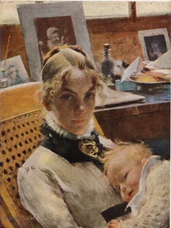 Carl Larsson - Karin and daughter Suzanne in Paris