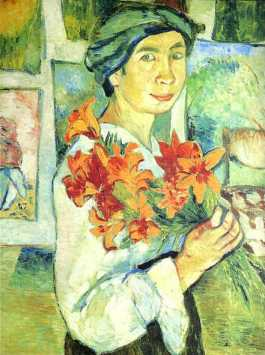 Natalia Goncharova - Self Portrait with Yellow Lilies