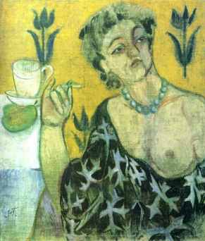 Natalia Goncharova - Woman with cigarette