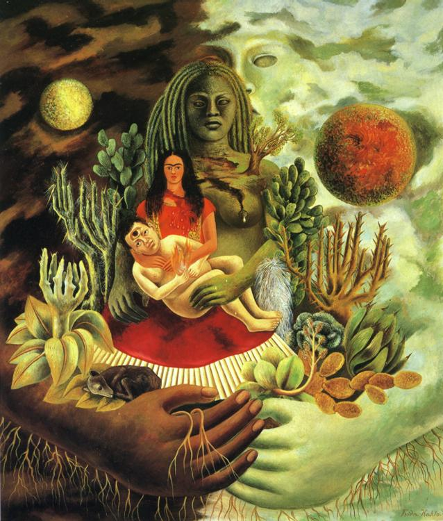 Frida Kahlo - The Love Embrace of the Universe, the Earth (Mexico), Diego, Me, and Senor Xolotl.