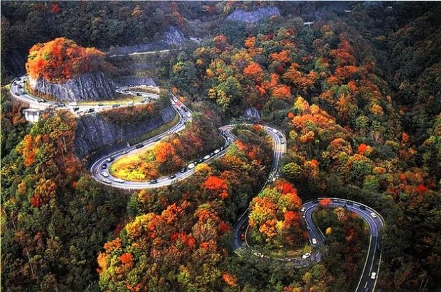dangerous road in autumn
