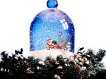 A snowglobe containing Santa Claus and a snowman for holiday decorating