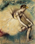 Edgar Degas. Dancer Putting on Her Slipper