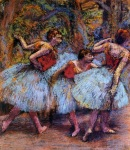 Edgar Degas. Three Dancers, Blue Skirts, Red Blouses