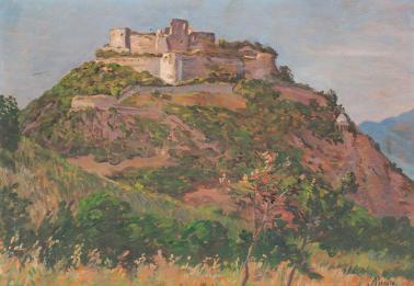 Alexandru Popp - Peisaj cu cetatea Devei