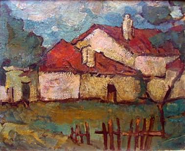 Aurel Băeșu - Peisaj cu casa