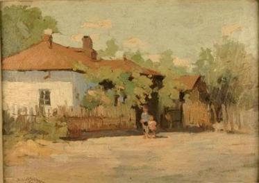 Aurel Băeșu - Peisaj cu case