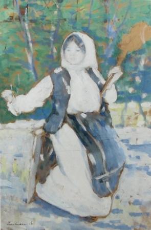 Ștefan Luchian - Taranca torcand