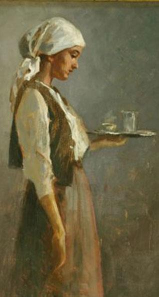 Nicolae Vermont - Femeie tanara cu tava