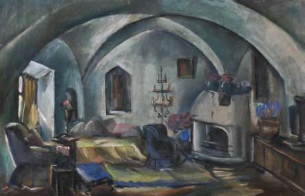 Elena Popea - Interior din castelul Bran1
