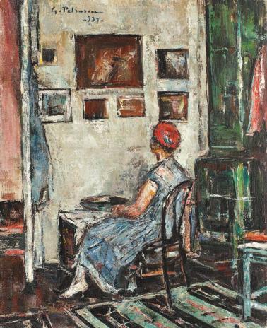 Gheorghe Petrașcu - Interior de atelier (Rochia albastră)