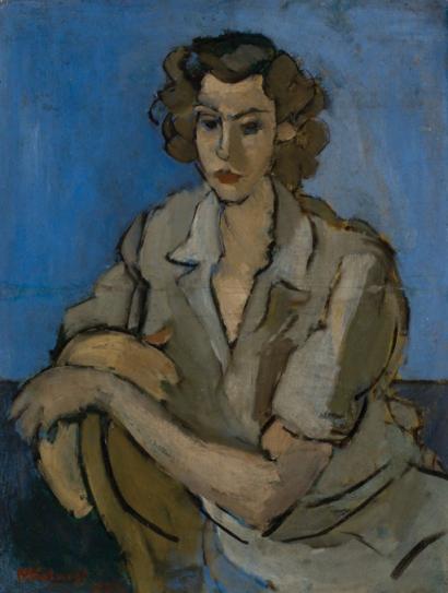 Henri Catargi – Femeie sezand pe fond albastru