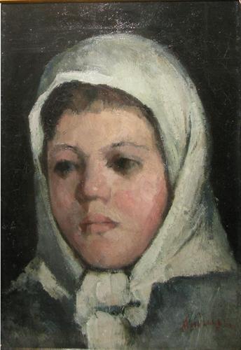 Ion Andreescu - Cap de fetita cu broboada alba