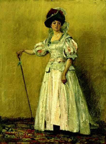 Ion Andreescu – Portret de femeie in costum de epoca