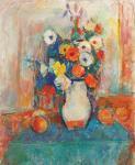 Ion Musceleanu - Natură statică cu flori și mere