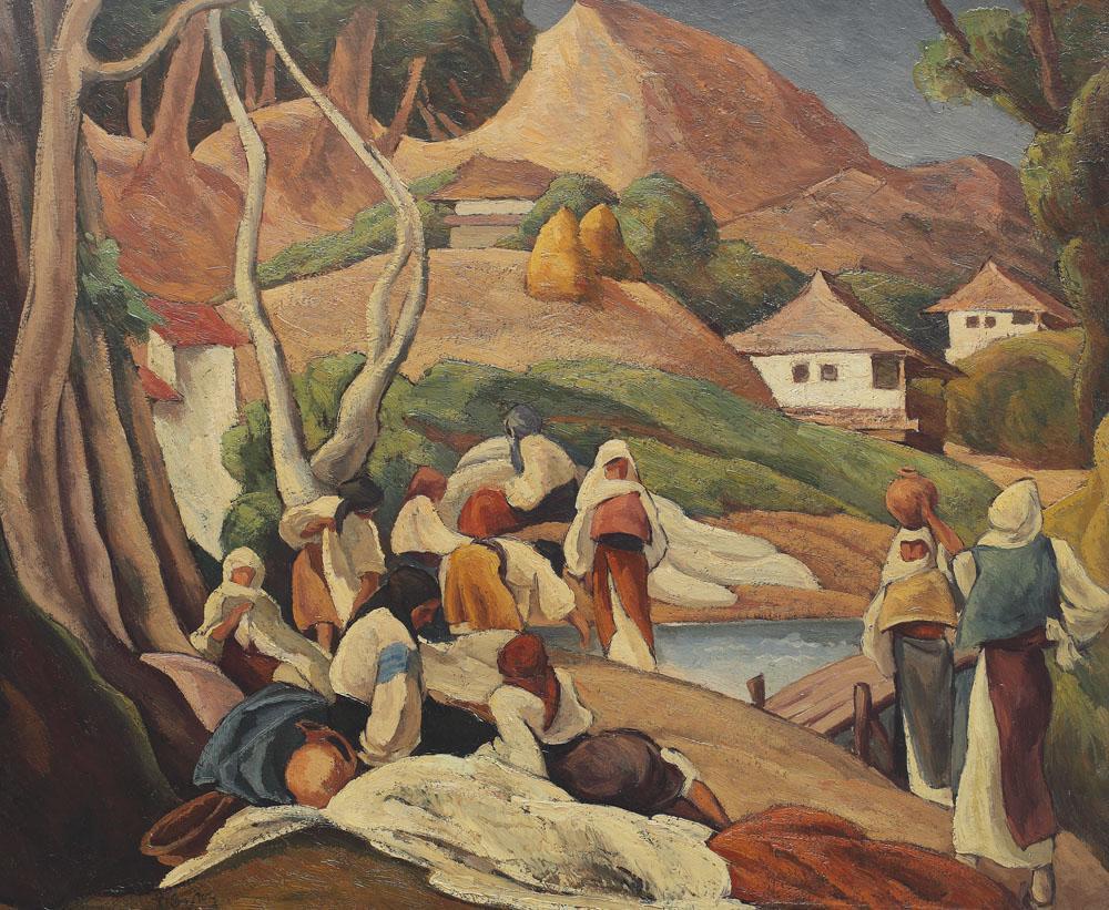 Ion Theodorescu-Sion - Compoziție cu ţărănci la răscruce