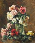 Ion Theodorescu-Sion - Natură statică cu trandafiri și ceașcă galbenă