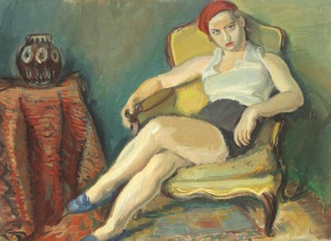 Iosif Iser – Femeie în fotoliu galben