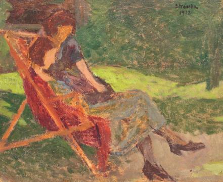 Ipolit Strambu - Lectură în grădină