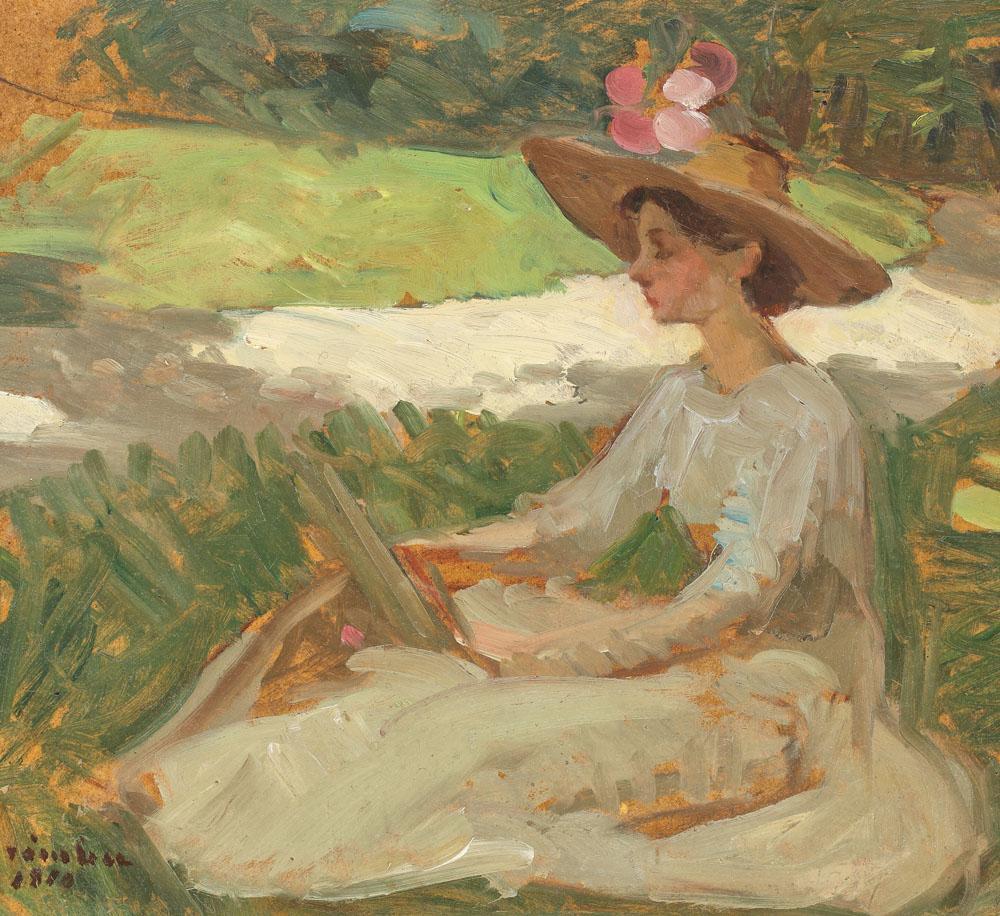 Ipolit Strâmbu - Lectură în grădină
