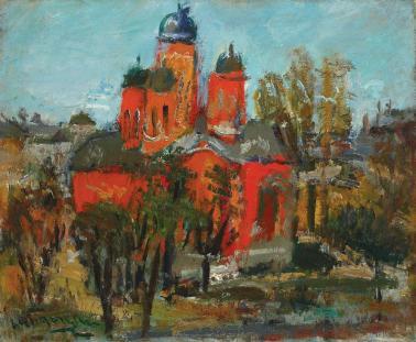 Lucian Grigorescu - Peisaj cu biserică roșie