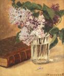 Ludovic Bassarab - Natură statică cu carte veche și liliac