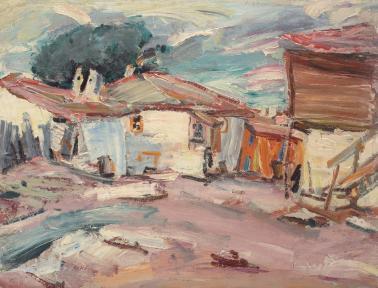 Max Arnold - Peisaj cu case la Balcic
