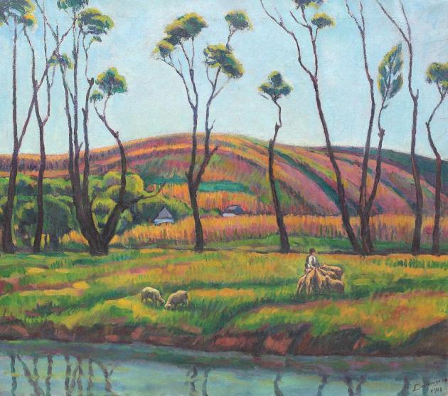 Nicolae Dărăscu - Ciobănaş cu oi, la Vlaici