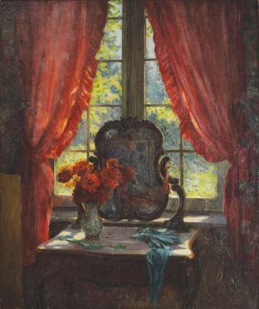 Nicolae Grant - Interior cu oglindă și crizanteme