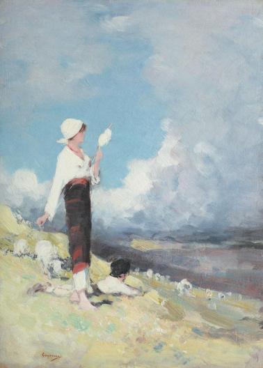 Nicolae Grigorescu - Țărăncuță cu turmă de oi, pe Valea Muscelului