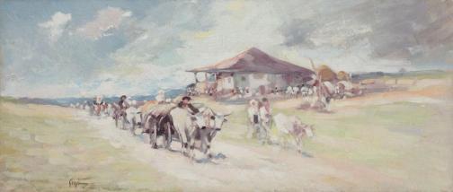 Nicolae Grigorescu - Care cu boi la Orății