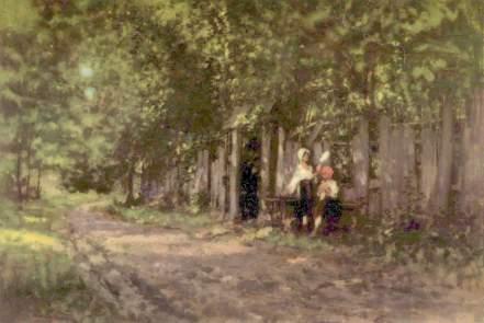 Nicolae Grigorescu - Fete lucrand la poarta