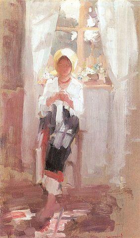 Nicolae Grigorescu - Tarancuta cosand la fereastra