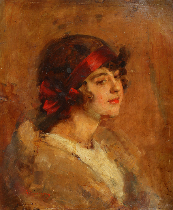 Nicolae Grigorescu - Portret cu funda rosie