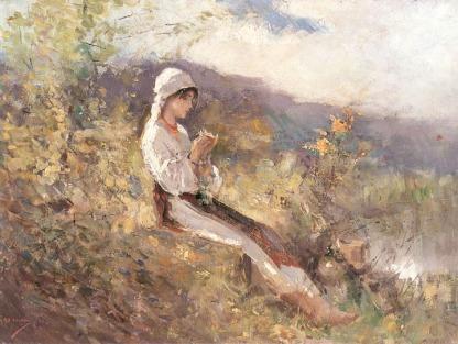 Nicolae Grigorescu - Taranca stand in iarba