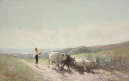 Nicolae Grigorescu - Tarancuta cu fuior pe cale