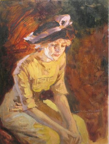 Nicolae Vermont – Doamna in rochie galbena