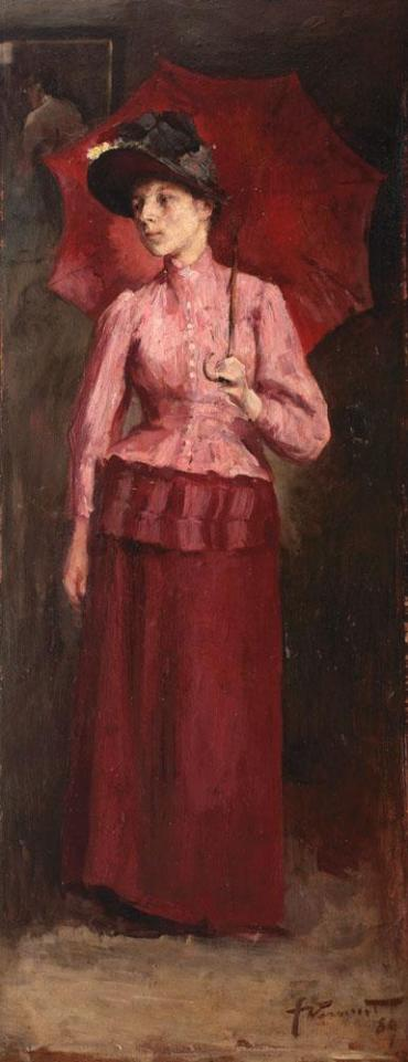 icolae Vermont – Femeie cu umbrelă roșie