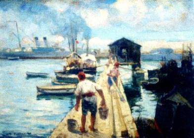 Nicolae Vermont - Peisaj marin cu portul Constanta