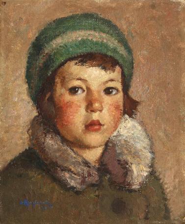 Octav Angheluţă - Copil cu beretă verde