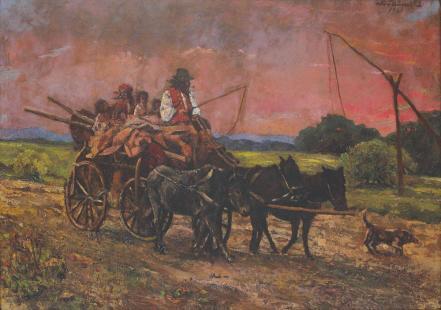 Octav Băncilă - Căruță cu nomazi, pe asfințit