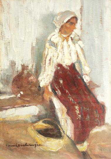 Rudolf Schweitzer-Cumpăna - Ţărancă pe laviță