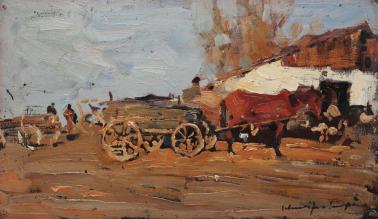 Rudolf Schweitzer-Cumpăna - Margine de sat cu căruţe şi un roib