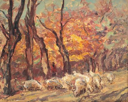Samuel Mützner - Peisaj cu turmă de oi