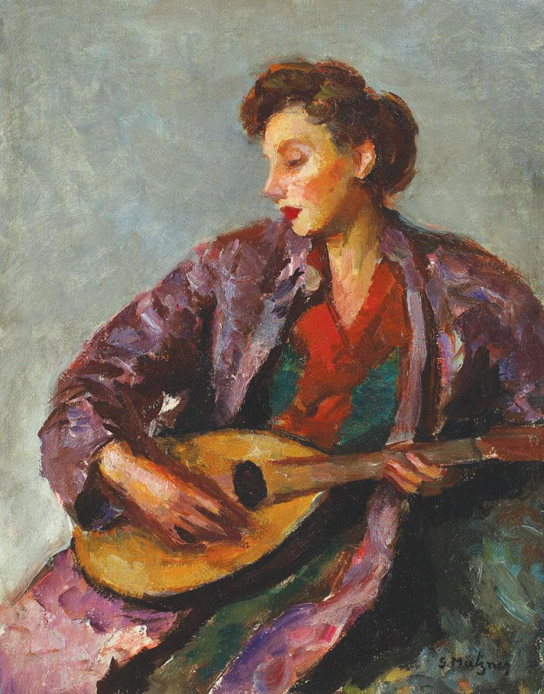 Samuel Mützner - Tânără cu mandolină