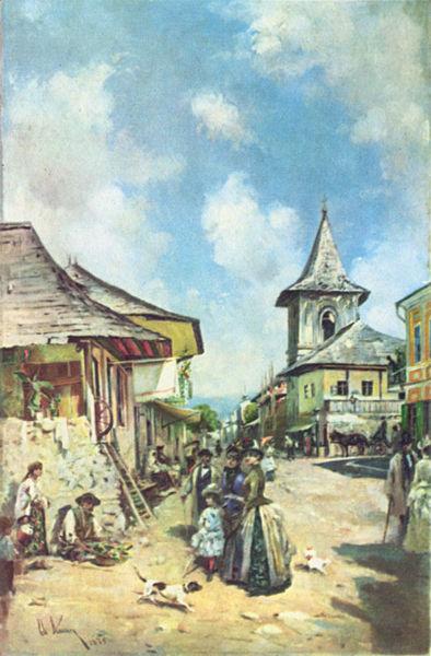 Theodor Aman - Strada in Cîmpulung, 1890