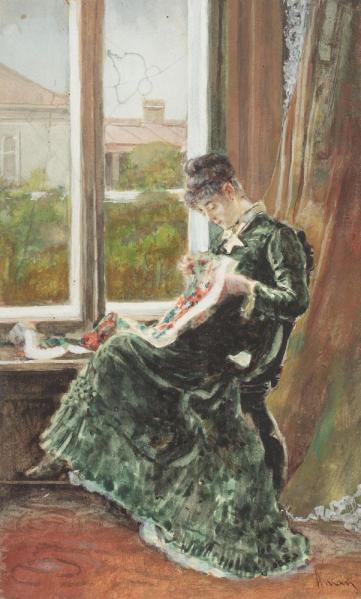 Theodor Aman - Tânără brodând